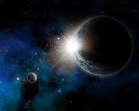 Fondo del espacio con tierra de la nebulosa y del planeta Foto de archivo libre de regalías