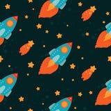 Fondo del espacio con volar de los cohetes Imagen de archivo libre de regalías