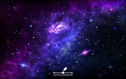 Fondo del espacio Contexto cósmico con la nebulosa Espacio exterior con la galaxia espiral brillante, el stardust y las estrellas ilustración del vector