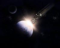 fondo del espacio 3D con los meteoritos que chocan con el planeta Fotografía de archivo libre de regalías