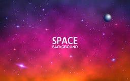 Fondo del espacio Galaxia colorida con la nebulosa, el planeta y las estrellas Contexto futurista abstracto Stardust y brillo ilustración del vector