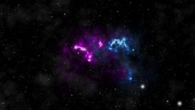 Fondo del espacio La cámara está volando a través de la nebulosa azul y magenta coloreada Las estrellas están por todas partes al