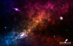 Fondo del espacio realista Cosmos con el stardust y las estrellas brillantes Galaxia espiral con el planeta, la vía láctea y colo ilustración del vector