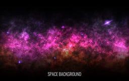 Fondo del espacio Vía láctea del color Nebulosa brillante, stardust y estrellas brillantes Galaxia colorida Cosmos realista libre illustration