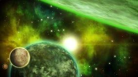 Fondo del espacio del verde de Sci fi Animación colocada stock de ilustración