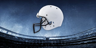 Fondo del estadio de fútbol con el casco Imágenes de archivo libres de regalías