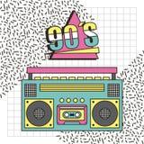 Fondo del estilo de Memphis de la música de la grabadora 90s Imágenes de archivo libres de regalías