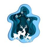 Fondo del extracto del arte del papel de la familia de los ciervos ilustración del vector