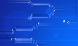 Fondo del extracto del circuito del flujo de datos de la electrónica de la tecnología de la información en azul ilustración del vector