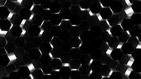 fondo del extracto de la animación 3D de los hexágonos negros que suben hacia arriba y hacia abajo stock de ilustración