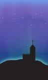 Fondo del extracto de la escena del cielo nocturno de la aurora de la iglesia libre illustration