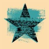 Fondo del extracto de la estrella de la textura de GGrunge con los movimientos y las manchas dibujados mano del cepillo Ilustraci Foto de archivo