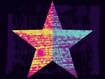 Fondo del extracto de la estrella de la textura del Grunge con los movimientos y las manchas dibujados mano del cepillo Ilustraci Fotos de archivo