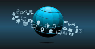 Fondo del extracto de la tecnología de la información o de la innovación de la tecnología stock de ilustración
