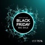 Fondo del extracto de la venta de Black Friday Estilo futurista de la tecnología Datos grandes Diseño con el plexo Fotos de archivo
