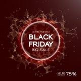Fondo del extracto de la venta de Black Friday Estilo futurista de la tecnología Datos grandes Diseño con el plexo ilustración del vector