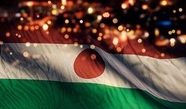 Fondo del extracto de Niger National Flag Light Night Bokeh Fotografía de archivo