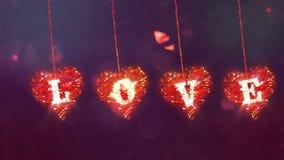Fondo del extracto del día de tarjeta del día de San Valentín, loopable Corazón de la despedida almacen de metraje de vídeo