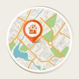 Fondo del extracto del mapa de la ciudad con el hogar del marcador ilustración del vector
