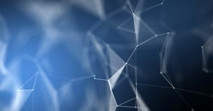 Fondo del extracto del plexo, estructura geométrica 3D Fondo molecular macro azul de la textura de los nodos de la tecnología de  stock de ilustración