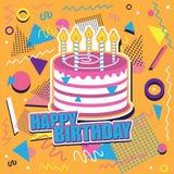 Fondo del feliz cumpleaños con la torta y el diseño abstracto Foto de archivo libre de regalías