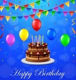 Fondo del feliz cumpleaños con la torta y los globos Foto de archivo