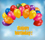 Fondo del feliz cumpleaños con los globos Foto de archivo