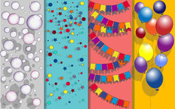Fondo del feliz cumpleaños con los globos, las guirnaldas de las banderas, las estrellas y los descensos del agua Ilustración del Imagenes de archivo