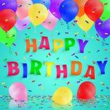 Fondo del feliz cumpleaños con los globos y el confeti coloridos Ilustración del vector Fotografía de archivo libre de regalías