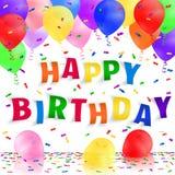 Fondo del feliz cumpleaños con los globos y el confeti realistas coloridos Tarjeta de felicitación Foto de archivo libre de regalías
