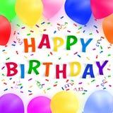 Fondo del feliz cumpleaños con los globos y el confeti realistas coloridos Tarjeta de felicitación Imagenes de archivo