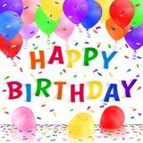 Fondo del feliz cumpleaños con los globos y el confeti realistas coloridos Tarjeta de felicitación Fotos de archivo