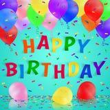 Fondo del feliz cumpleaños con los globos y el confeti realistas coloridos Tarjeta de felicitación Imagen de archivo libre de regalías