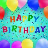 Fondo del feliz cumpleaños con los globos y el confeti realistas coloridos Tarjeta de felicitación Fotos de archivo libres de regalías