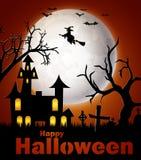 Fondo del feliz Halloween con el castillo y la bruja Foto de archivo libre de regalías
