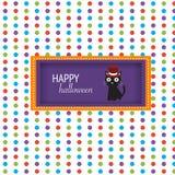Fondo del feliz Halloween con vector lindo negro del gato illustrat Fotos de archivo