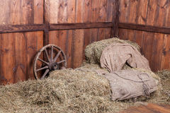 Fondo del fieno e di legno Fotografia Stock Libera da Diritti