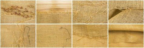 Fondo del filo del grano del panno della tela da imballaggio del collage Fotografia Stock