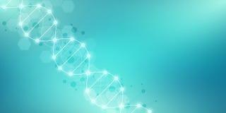 Fondo del filo del DNA e ingegneria o ricerca genetica del laboratorio Concetto medico di scienza e di tecnologia illustrazione di stock