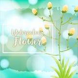 Fondo del fiore dell'acquerello con i fiori gialli royalty illustrazione gratis