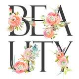 Fondo del fiore dell'acquerello Testo di bellezza illustrazione vettoriale
