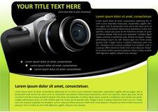 Fondo del folleto del vector con la cámara Imagen de archivo