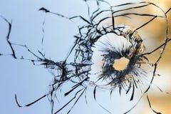 Fondo 2 del foro di pallottola della finestra di vetro Immagini Stock