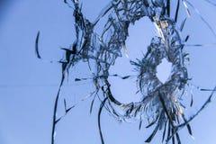 Fondo 3 del foro di pallottola della finestra di vetro Immagini Stock Libere da Diritti
