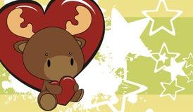 Fondo del fumetto di amore del bambino della renna Fotografia Stock Libera da Diritti