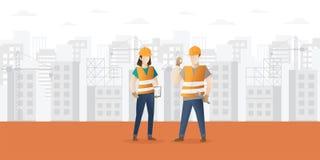 Fondo del fumetto di industria dell'edilizia e dell'edificio con i lavoratori illustrazione vettoriale