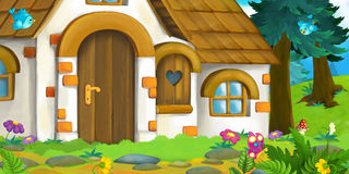 Fondo del fumetto di vecchia casa nella foresta Fotografie Stock