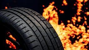 Fondo del fuoco della gomma di automobile Fotografia Stock Libera da Diritti