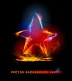Fondo del fuoco, simbolo della stella Fotografie Stock