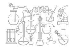 Fondo del garabato de la ciencia y de la química Página blanco y negro del libro de colorear stock de ilustración